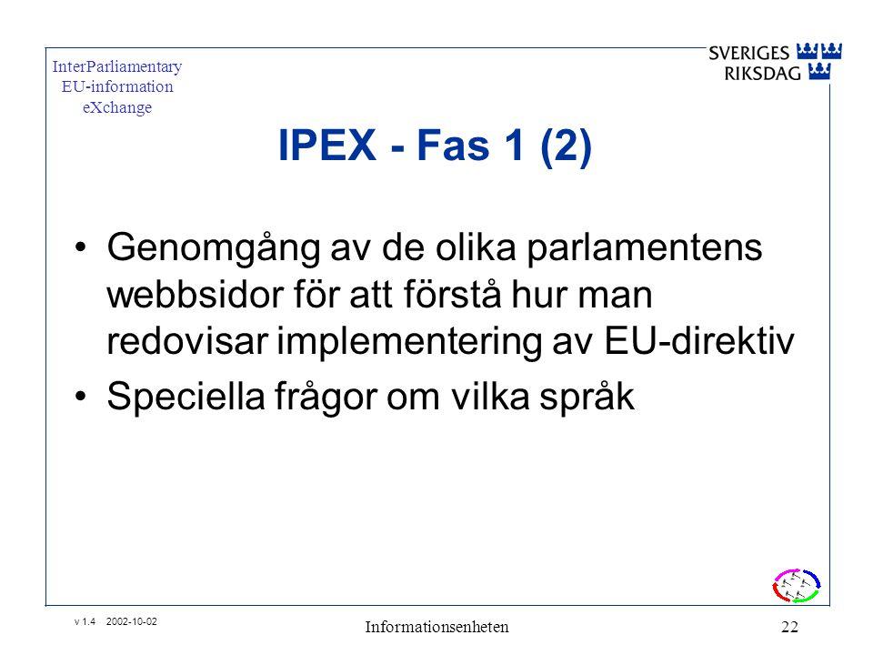 v 1.4 2002-10-02 Informationsenheten22 IPEX - Fas 1 (2) •Genomgång av de olika parlamentens webbsidor för att förstå hur man redovisar implementering av EU-direktiv •Speciella frågor om vilka språk InterParliamentary EU-information eXchange