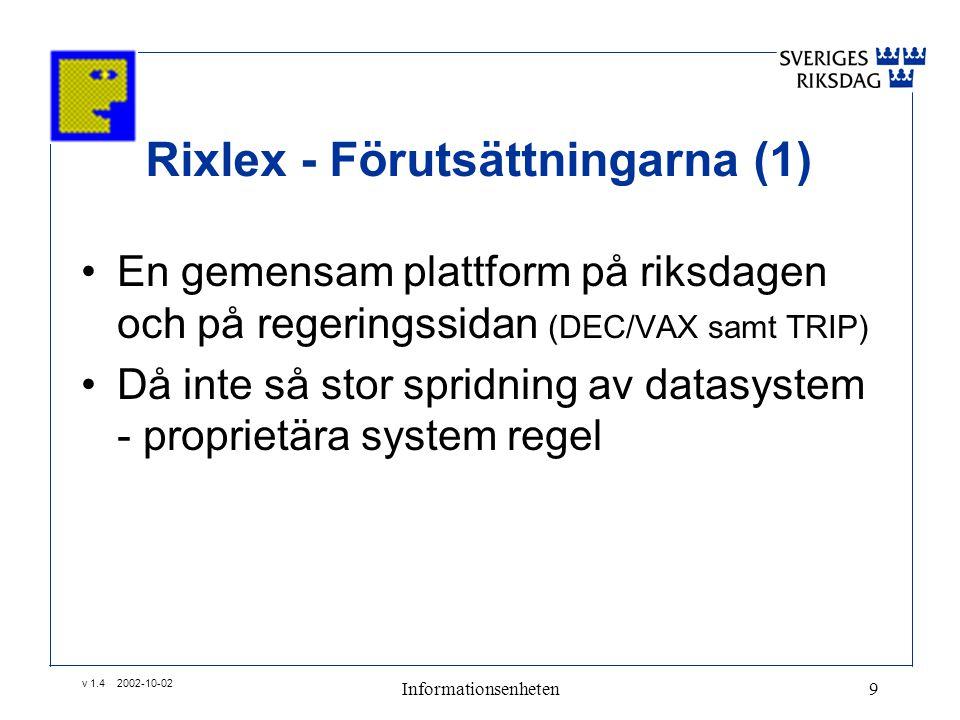 v 1.4 2002-10-02 Informationsenheten9 Rixlex - Förutsättningarna (1) •En gemensam plattform på riksdagen och på regeringssidan (DEC/VAX samt TRIP) •Då inte så stor spridning av datasystem - proprietära system regel