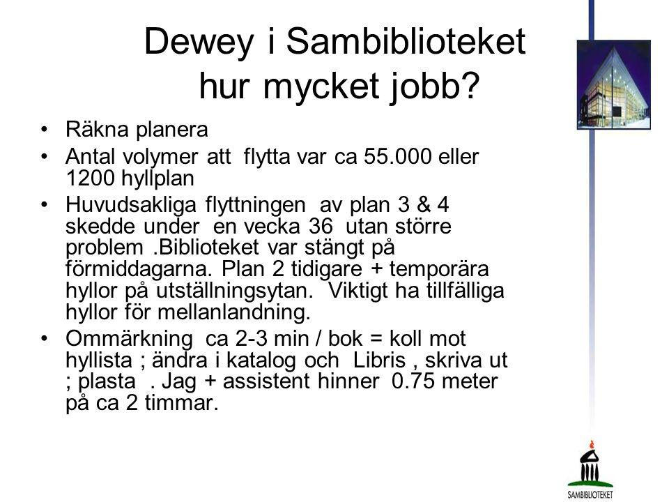 Dewey i Sambiblioteket hur mycket jobb? •Räkna planera •Antal volymer att flytta var ca 55.000 eller 1200 hyllplan •Huvudsakliga flyttningen av plan 3