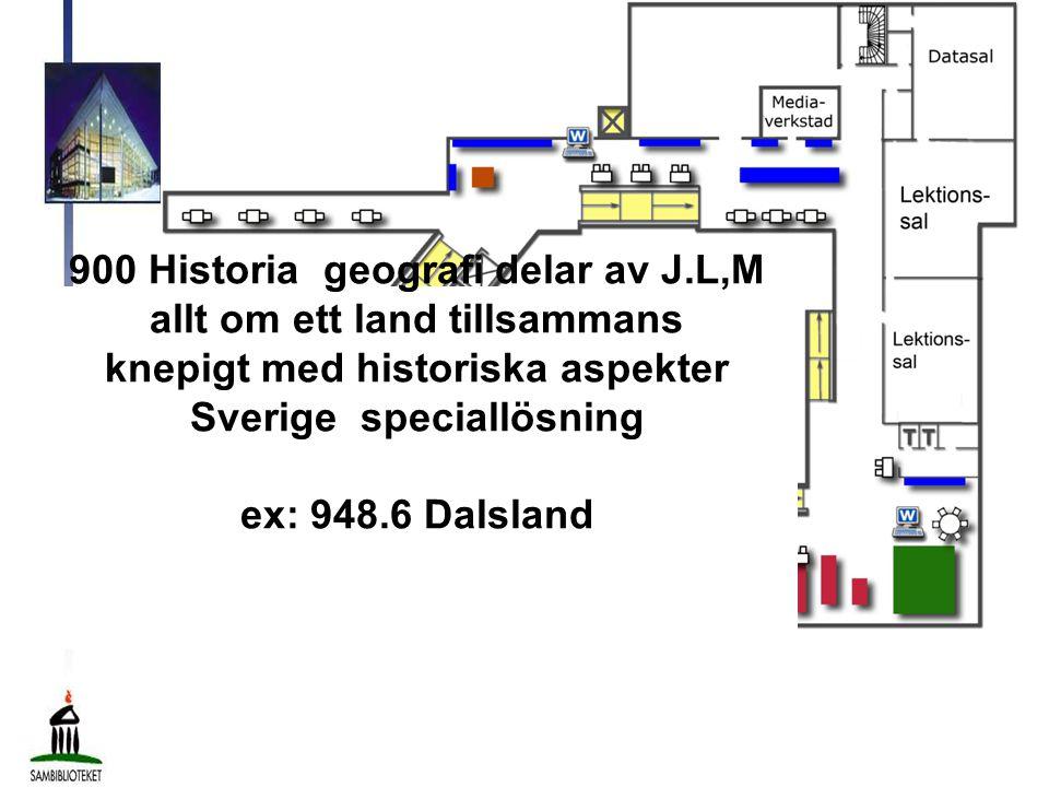 900 Historia geografi delar av J.L,M allt om ett land tillsammans knepigt med historiska aspekter Sverige speciallösning ex: 948.6 Dalsland