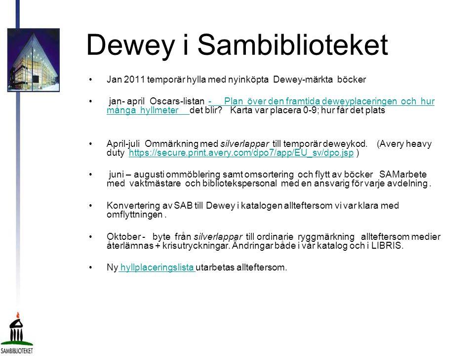 Dewey i Sambiblioteket •Jan 2011 temporär hylla med nyinköpta Dewey-märkta böcker • jan- april Oscars-listan - Plan över den framtida deweyplaceringen och hur många hyllmeter det blir.