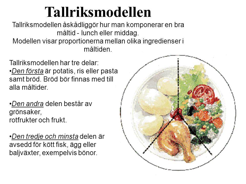 Tallriksmodellen Tallriksmodellen åskådliggör hur man komponerar en bra måltid - lunch eller middag.