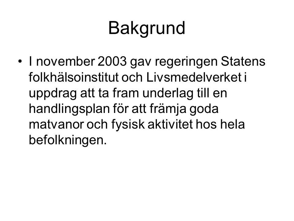 Bakgrund •I november 2003 gav regeringen Statens folkhälsoinstitut och Livsmedelverket i uppdrag att ta fram underlag till en handlingsplan för att främja goda matvanor och fysisk aktivitet hos hela befolkningen.