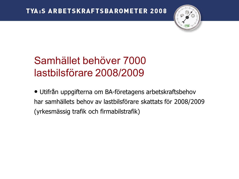 • Utifrån uppgifterna om BA-företagens arbetskraftsbehov har samhällets behov av lastbilsförare skattats för 2008/2009 (yrkesmässig trafik och firmabilstrafik) Samhället behöver 7000 lastbilsförare 2008/2009