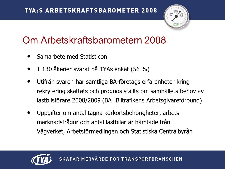 • Samarbete med Statisticon • 1 130 åkerier svarat på TYAs enkät (56 %) • Utifrån svaren har samtliga BA-företags erfarenheter kring rekrytering skattats och prognos ställts om samhällets behov av lastbilsförare 2008/2009 (BA=Biltrafikens Arbetsgivareförbund) • Uppgifter om antal tagna körkortsbehörigheter, arbets- marknadsfrågor och antal lastbilar är hämtade från Vägverket, Arbetsförmedlingen och Statistiska Centralbyrån Om Arbetskraftsbarometern 2008