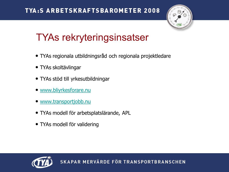 TYAs rekryteringsinsatser • TYAs regionala utbildningsråd och regionala projektledare • TYAs skoltävlingar • TYAs stöd till yrkesutbildningar • www.bliyrkesforare.nuwww.bliyrkesforare.nu • www.transportjobb.nuwww.transportjobb.nu • TYAs modell för arbetsplatslärande, APL • TYAs modell för validering