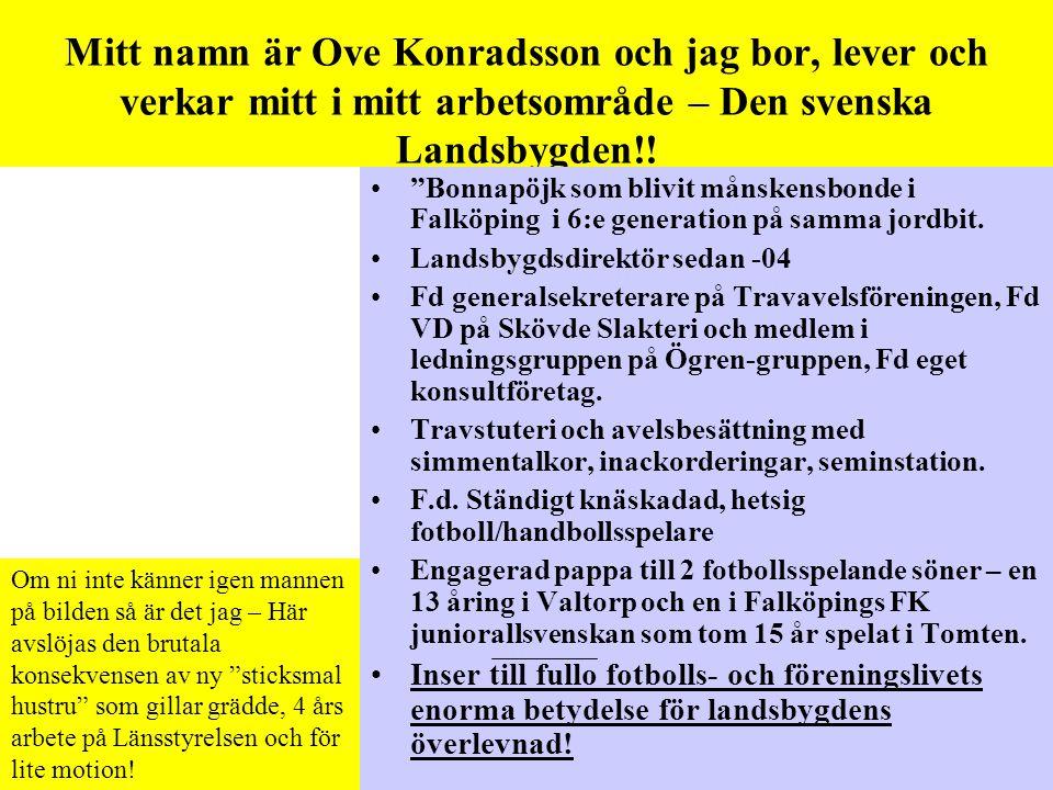 Mitt namn är Ove Konradsson och jag bor, lever och verkar mitt i mitt arbetsområde – Den svenska Landsbygden!.
