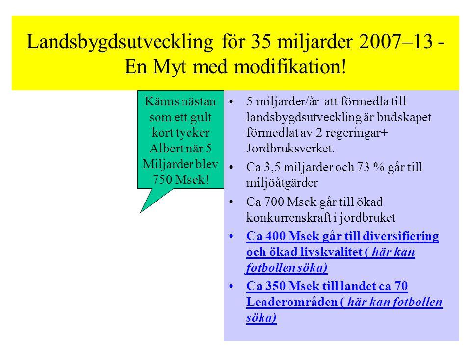 Landsbygdsutveckling för 35 miljarder 2007–13 - En Myt med modifikation.