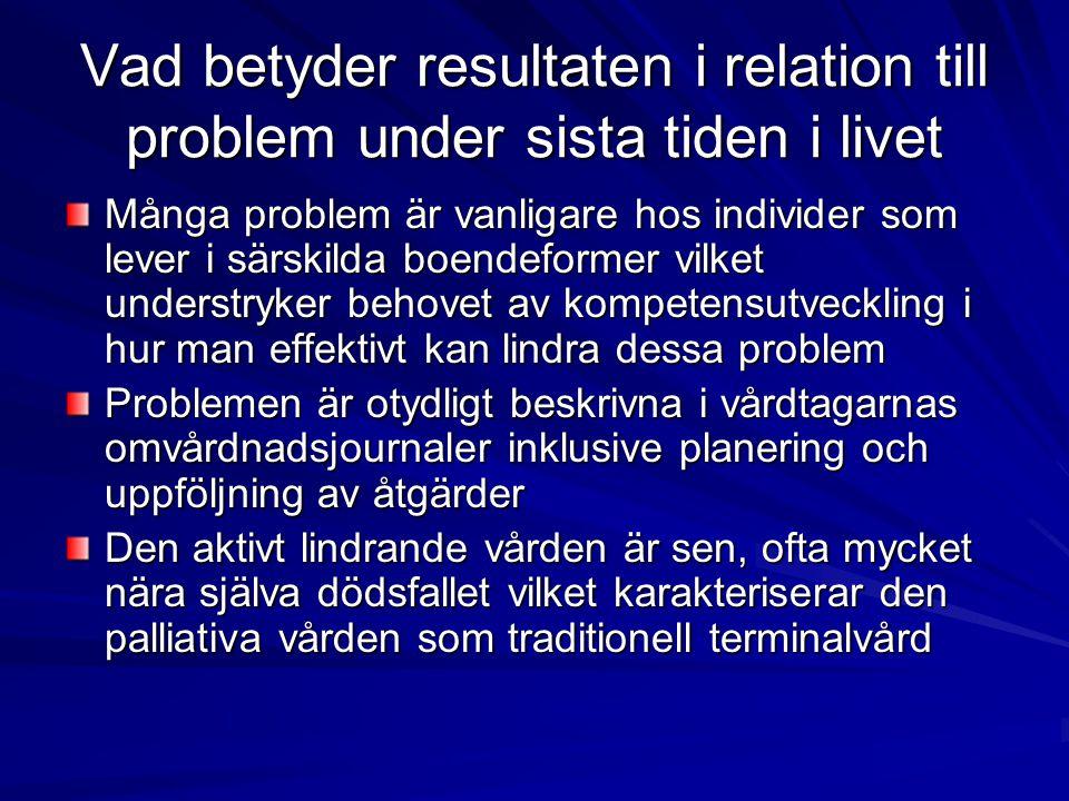 Vad betyder resultaten i relation till problem under sista tiden i livet Många problem är vanligare hos individer som lever i särskilda boendeformer v