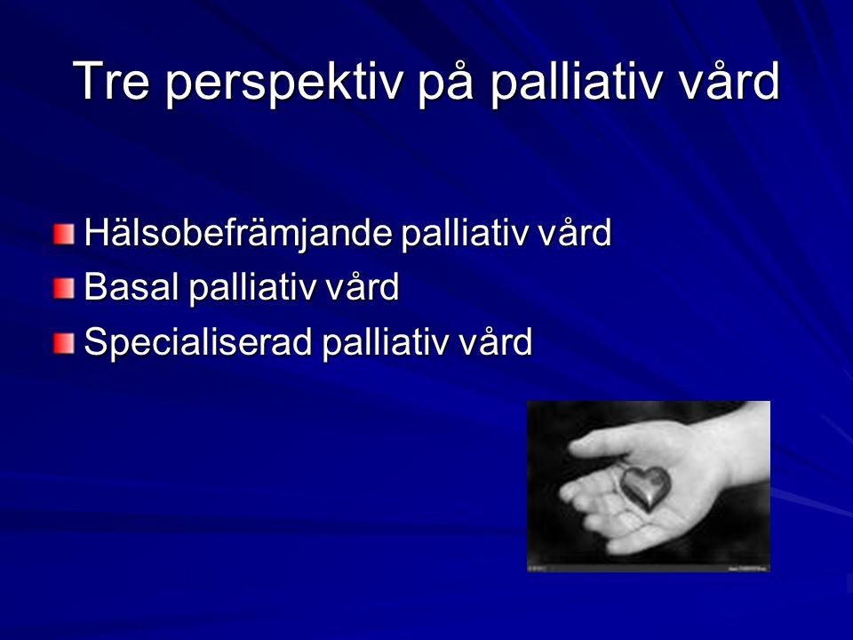 Tre perspektiv på palliativ vård Hälsobefrämjande palliativ vård Basal palliativ vård Specialiserad palliativ vård