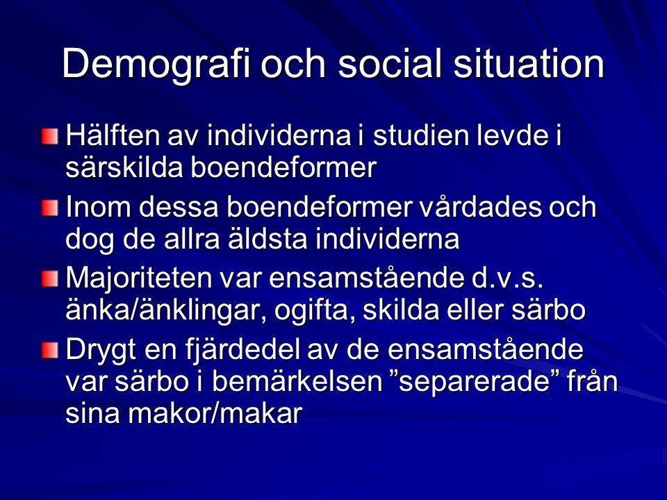 Demografi och social situation Hälften av individerna i studien levde i särskilda boendeformer Inom dessa boendeformer vårdades och dog de allra äldst