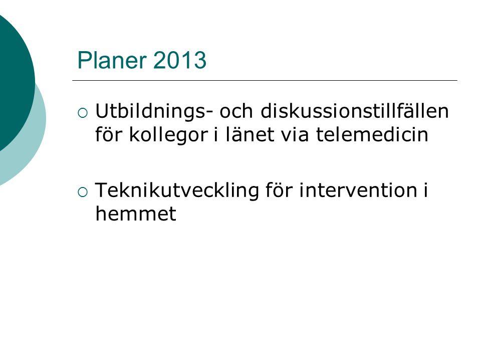 Planer 2013  Utbildnings- och diskussionstillfällen för kollegor i länet via telemedicin  Teknikutveckling för intervention i hemmet