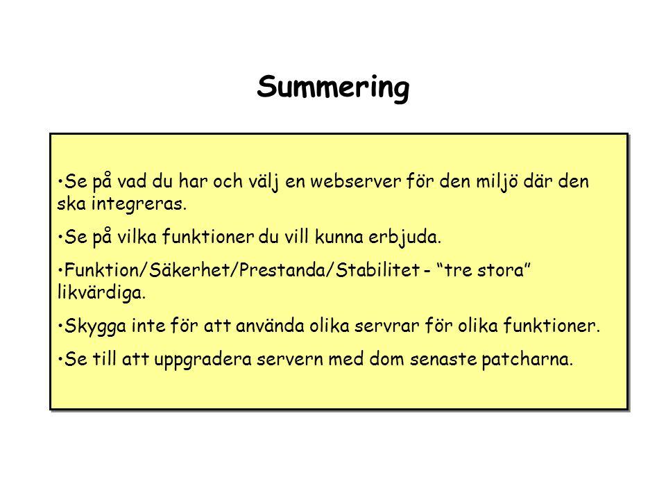 Summering •Se på vad du har och välj en webserver för den miljö där den ska integreras.