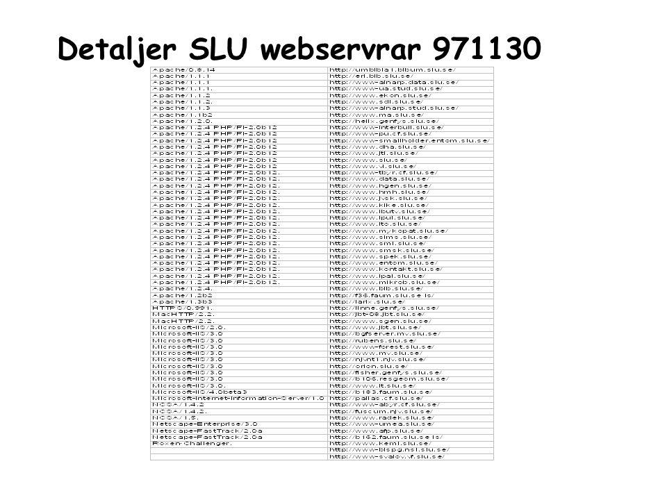 Detaljer SLU webservrar 971130