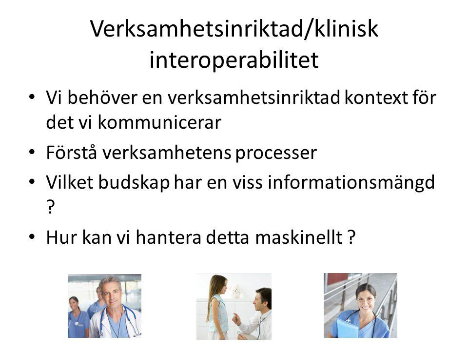 Verksamhetsinriktad/klinisk interoperabilitet • Vi behöver en verksamhetsinriktad kontext för det vi kommunicerar • Förstå verksamhetens processer • V