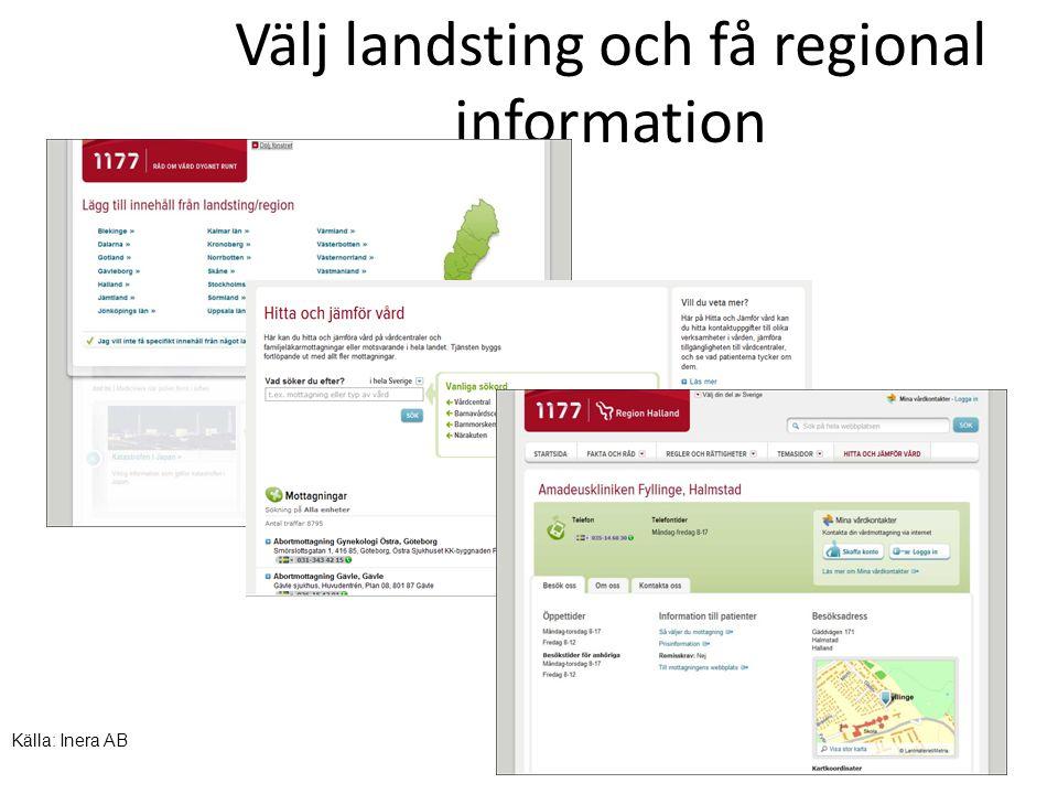 Välj landsting och få regional information Källa: Inera AB