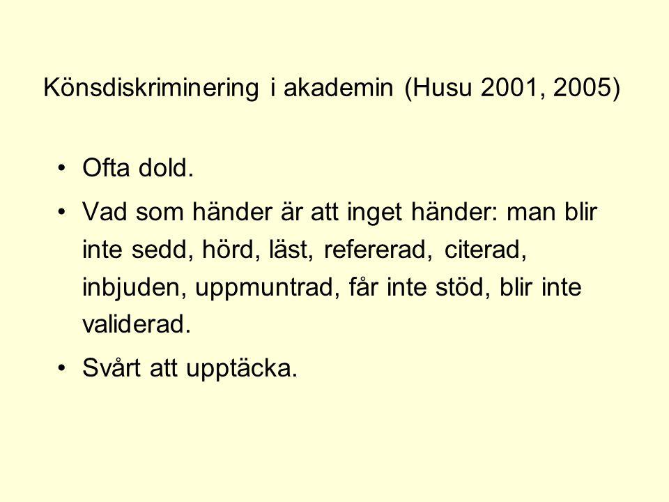 Könsdiskriminering i akademin (Husu 2001, 2005) •Ofta dold. •Vad som händer är att inget händer: man blir inte sedd, hörd, läst, refererad, citerad, i