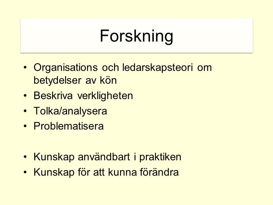Akademin: Könsuppdelad statistik •Kvinnor utgör 28,3 % av all akademisk personal och 13,8 % av alla professorer i Sverige (EC She figures 2003).