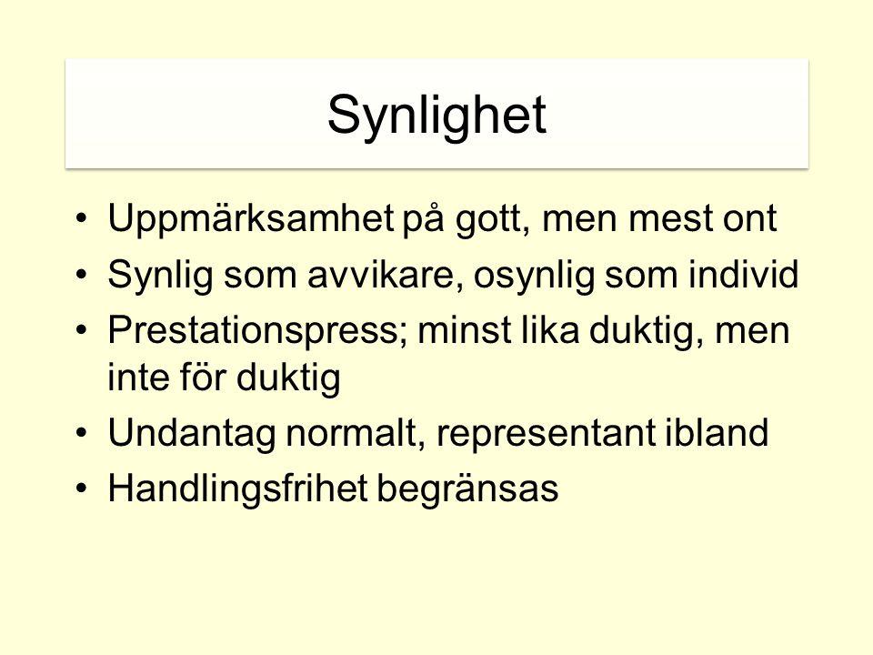 Synlighet •Uppmärksamhet på gott, men mest ont •Synlig som avvikare, osynlig som individ •Prestationspress; minst lika duktig, men inte för duktig •Un