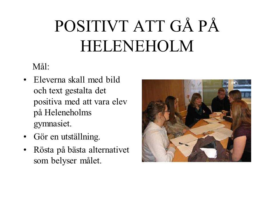 POSITIVT ATT GÅ PÅ HELENEHOLM Mål: •Eleverna skall med bild och text gestalta det positiva med att vara elev på Heleneholms gymnasiet.