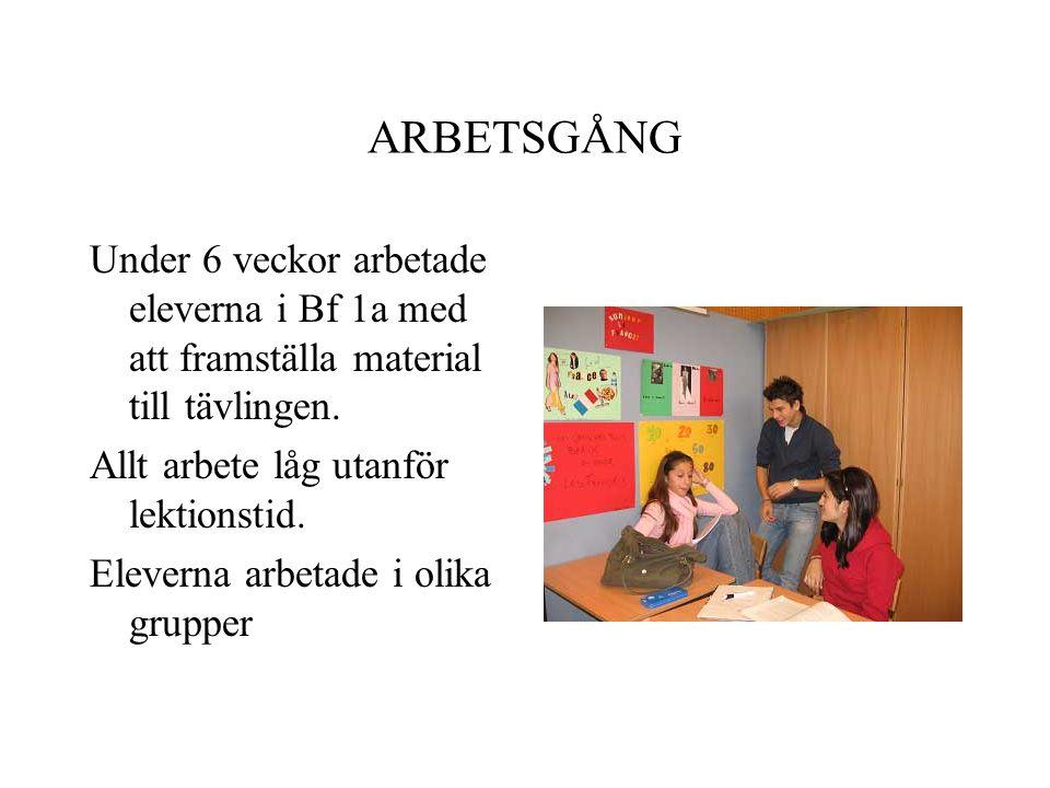 ARBETSGÅNG Under 6 veckor arbetade eleverna i Bf 1a med att framställa material till tävlingen.