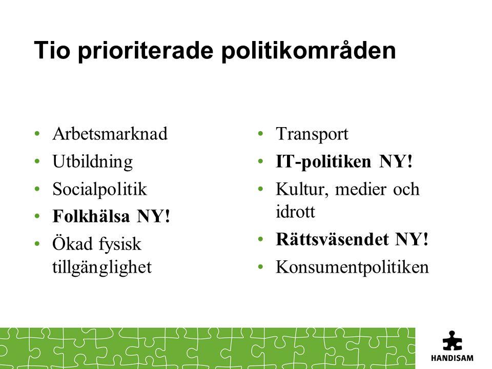 Tio prioriterade politikområden •Arbetsmarknad •Utbildning •Socialpolitik •Folkhälsa NY.