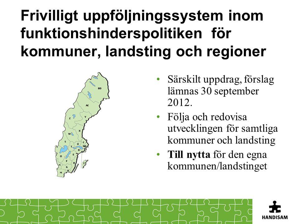 Frivilligt uppföljningssystem inom funktionshinderspolitiken för kommuner, landsting och regioner •Särskilt uppdrag, förslag lämnas 30 september 2012.