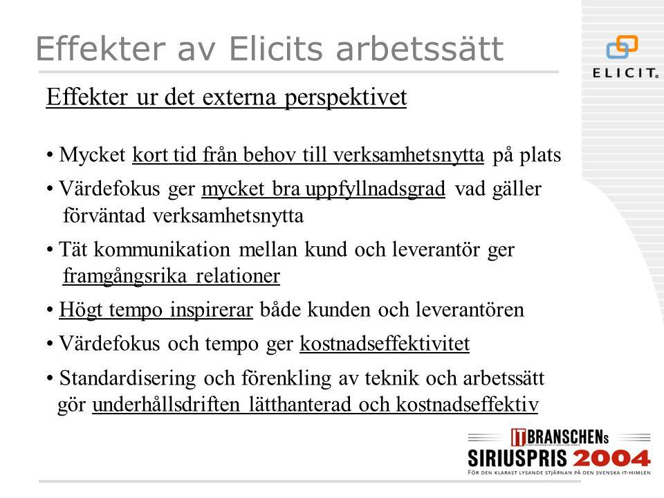Effekter av Elicits arbetssätt Effekter ur det externa perspektivet • Mycket kort tid från behov till verksamhetsnytta på plats • Värdefokus ger mycke