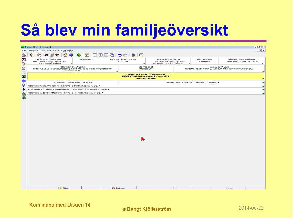 Så blev min familjeöversikt Kom igång med Disgen 14 © Bengt Kjöllerström 2014-06-22