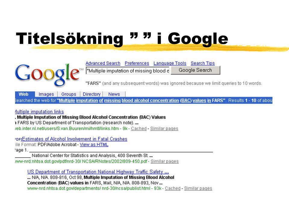 "Titelsökning "" "" i Google"