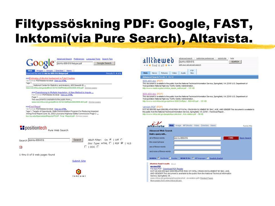 Filtypssöskning PDF: Google, FAST, Inktomi(via Pure Search), Altavista.
