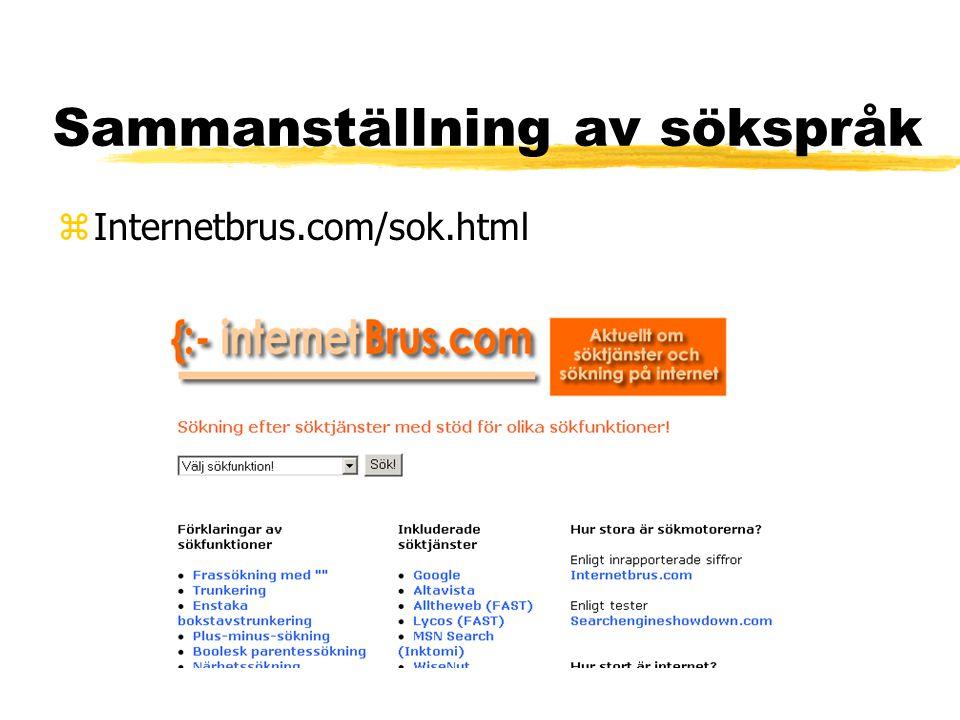 Sammanställning av sökspråk zInternetbrus.com/sok.html