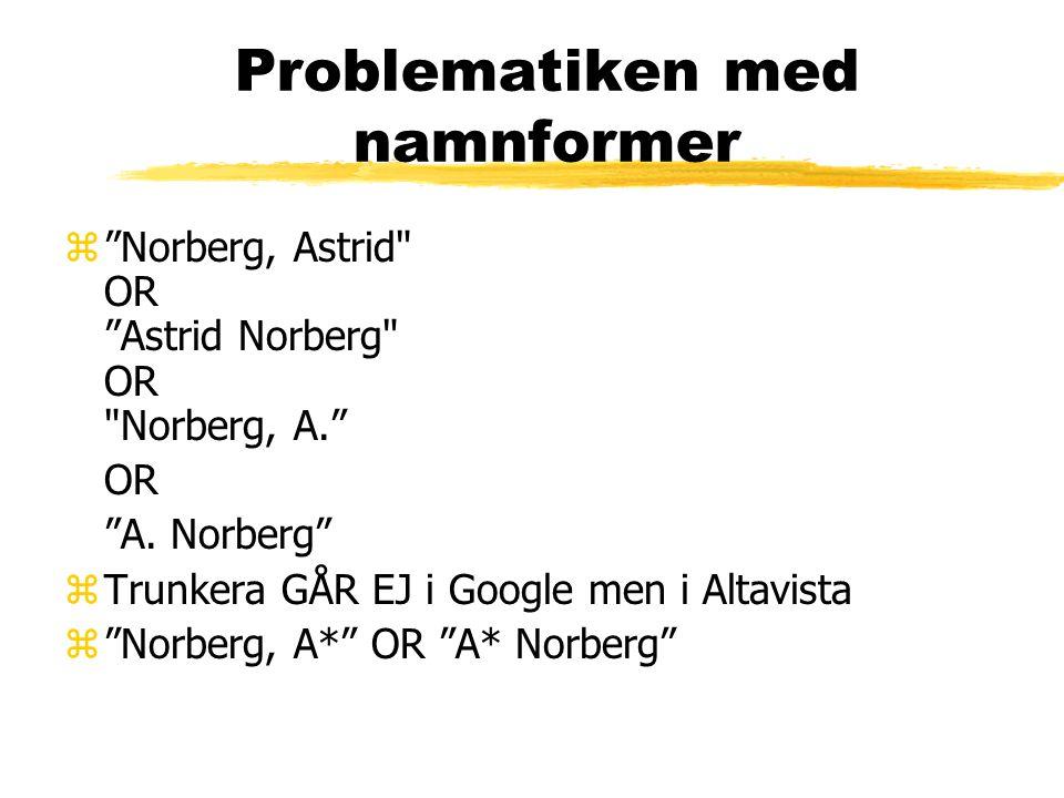Problematiken med namnformer z Norberg, Astrid OR Astrid Norberg OR Norberg, A. OR A.