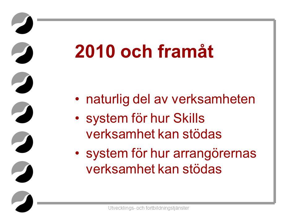 Utvecklings- och fortbildningstjänster 2010 och framåt •naturlig del av verksamheten •system för hur Skills verksamhet kan stödas •system för hur arrangörernas verksamhet kan stödas
