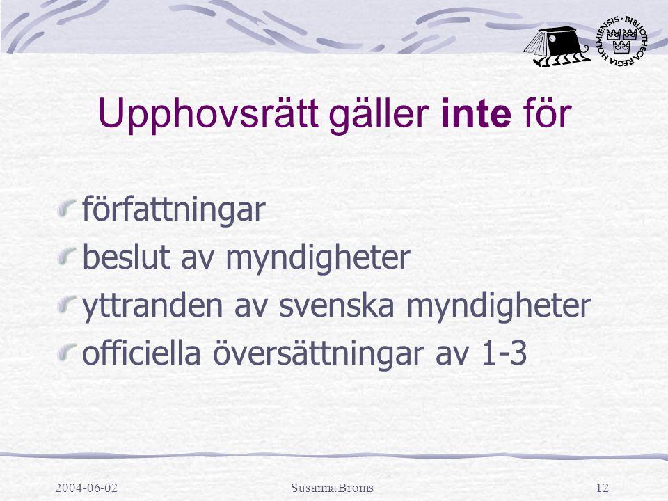 2004-06-02Susanna Broms12 Upphovsrätt gäller inte för författningar beslut av myndigheter yttranden av svenska myndigheter officiella översättningar av 1-3