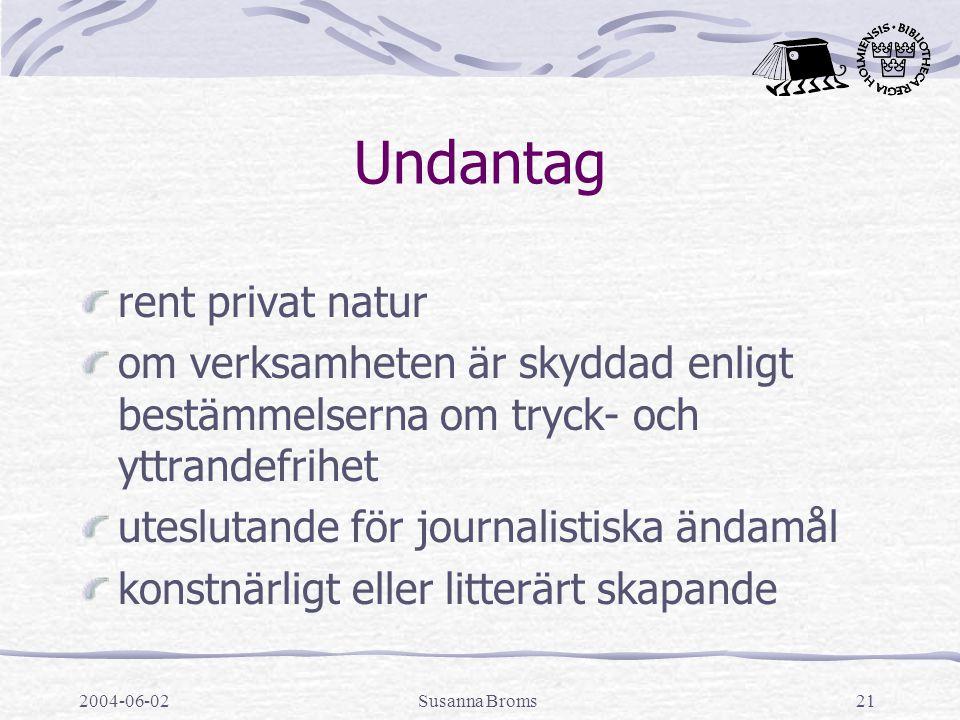 2004-06-02Susanna Broms21 Undantag rent privat natur om verksamheten är skyddad enligt bestämmelserna om tryck- och yttrandefrihet uteslutande för journalistiska ändamål konstnärligt eller litterärt skapande