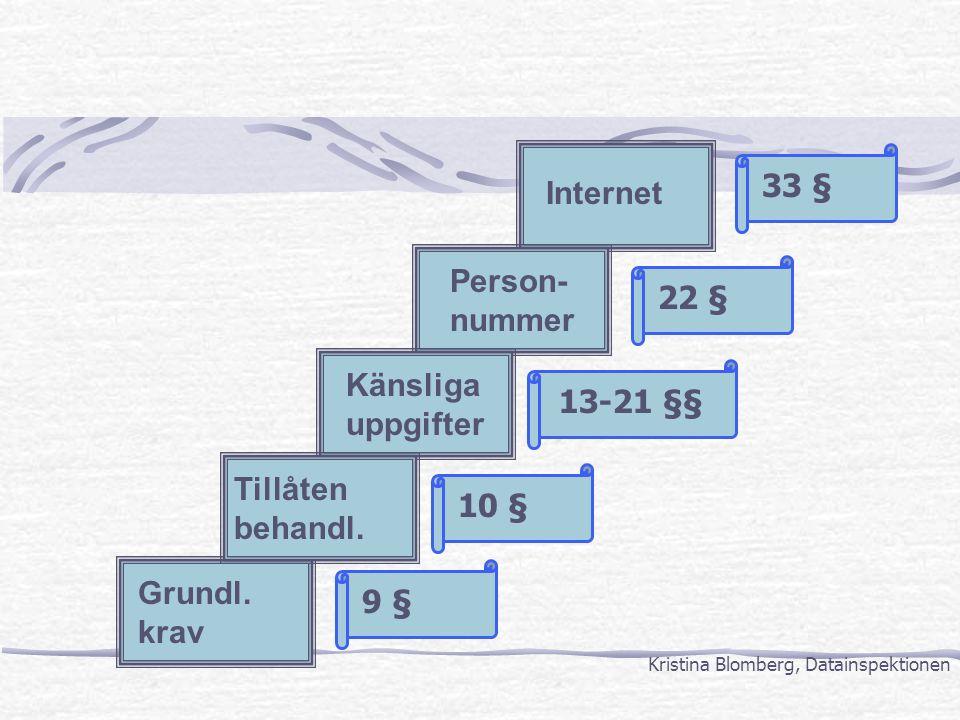 Tillåten behandl. Känsliga uppgifter Person- nummer Internet 10 § 13-21 §§ 9 § 22 § 33 § Grundl. krav Kristina Blomberg, Datainspektionen