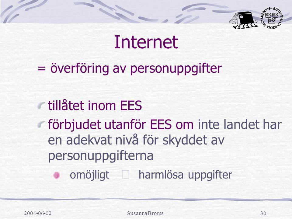 2004-06-02Susanna Broms30 Internet = överföring av personuppgifter tillåtet inom EES förbjudet utanför EES om inte landet har en adekvat nivå för skyddet av personuppgifterna omöjligt  harmlösa uppgifter