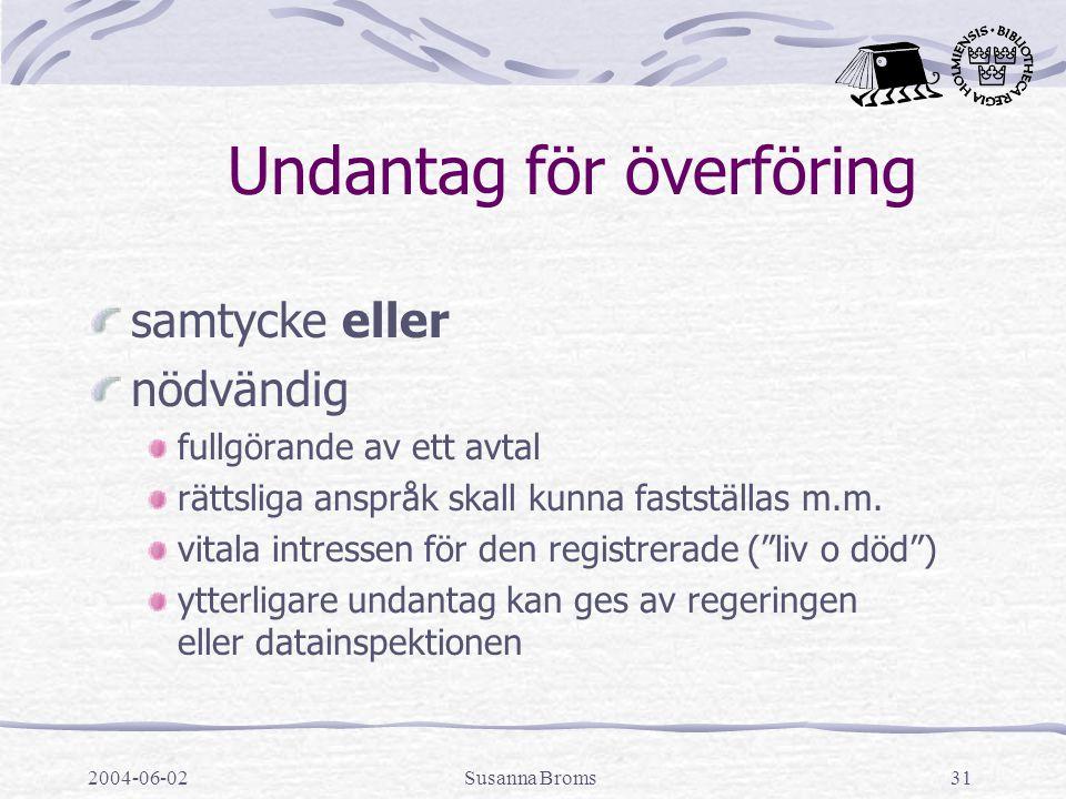 2004-06-02Susanna Broms31 Undantag för överföring samtycke eller nödvändig fullgörande av ett avtal rättsliga anspråk skall kunna fastställas m.m.