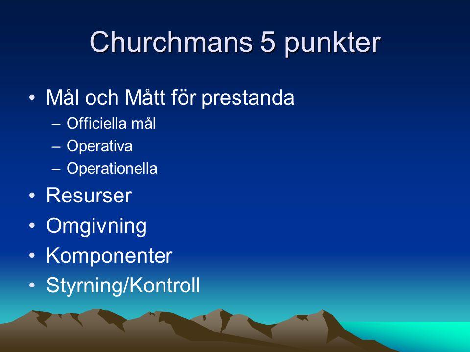 Churchmans 5 punkter •Mål och Mått för prestanda –Officiella mål –Operativa –Operationella •Resurser •Omgivning •Komponenter •Styrning/Kontroll