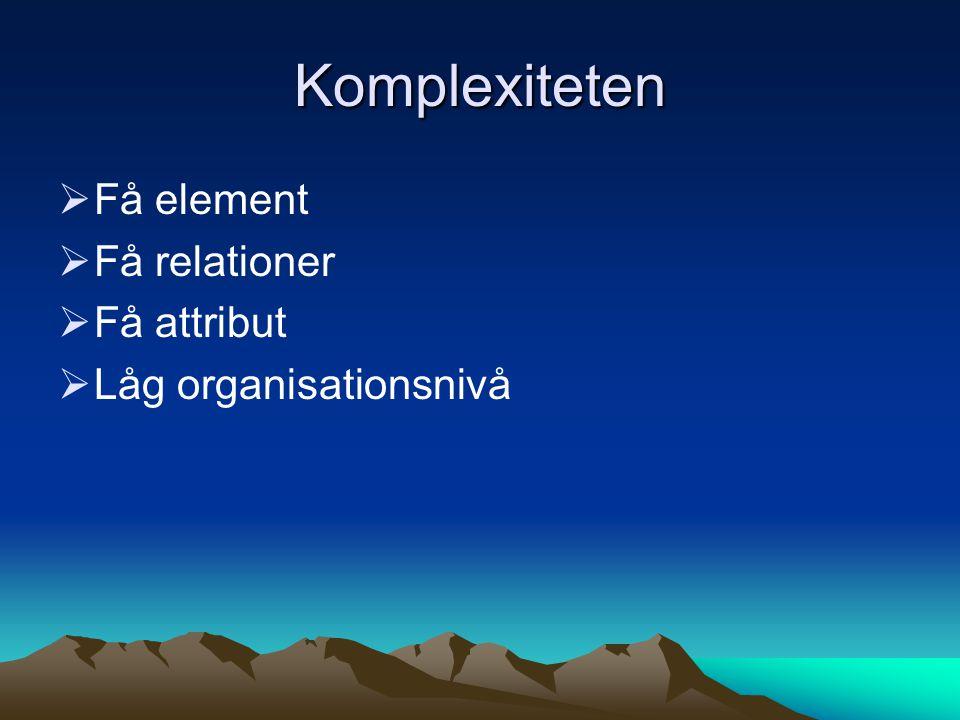 Komplexiteten  Få element  Få relationer  Få attribut  Låg organisationsnivå