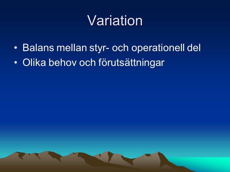 Variation •Balans mellan styr- och operationell del •Olika behov och förutsättningar
