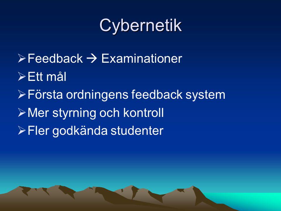 Cybernetik  Feedback  Examinationer  Ett mål  Första ordningens feedback system  Mer styrning och kontroll  Fler godkända studenter