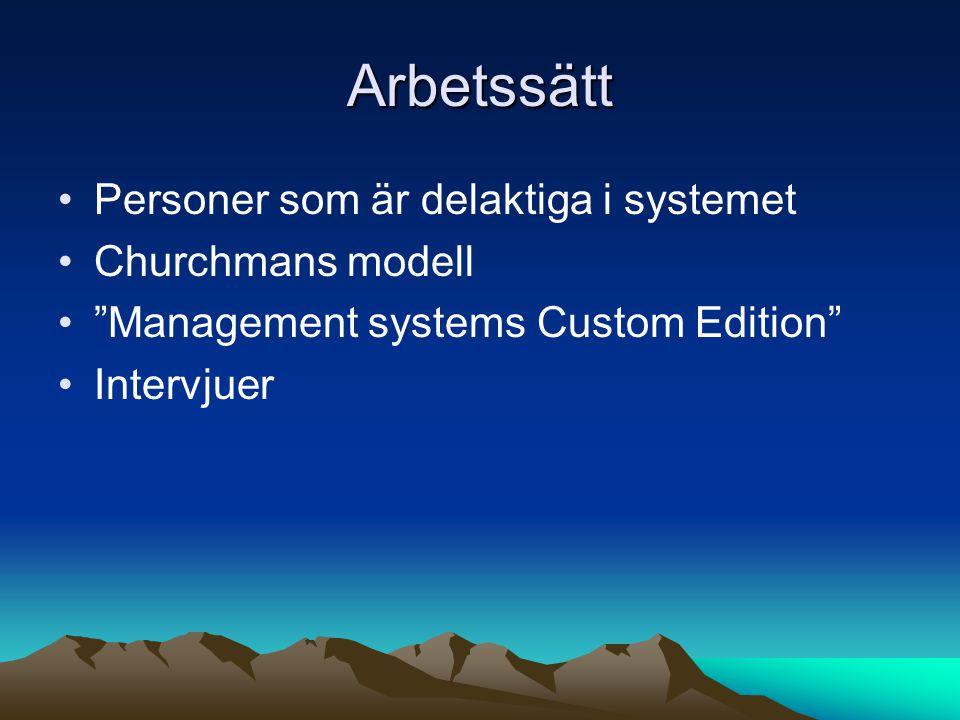 """Arbetssätt •Personer som är delaktiga i systemet •Churchmans modell •""""Management systems Custom Edition"""" •Intervjuer"""