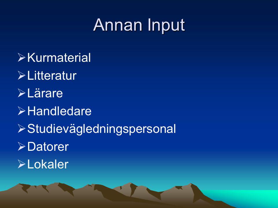 Annan Input  Kurmaterial  Litteratur  Lärare  Handledare  Studievägledningspersonal  Datorer  Lokaler