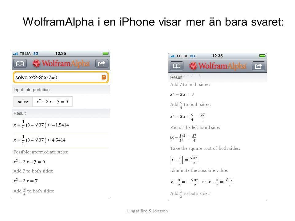 WolframAlpha i en iPhone visar mer än bara svaret: Lingefjärd & Jönsson