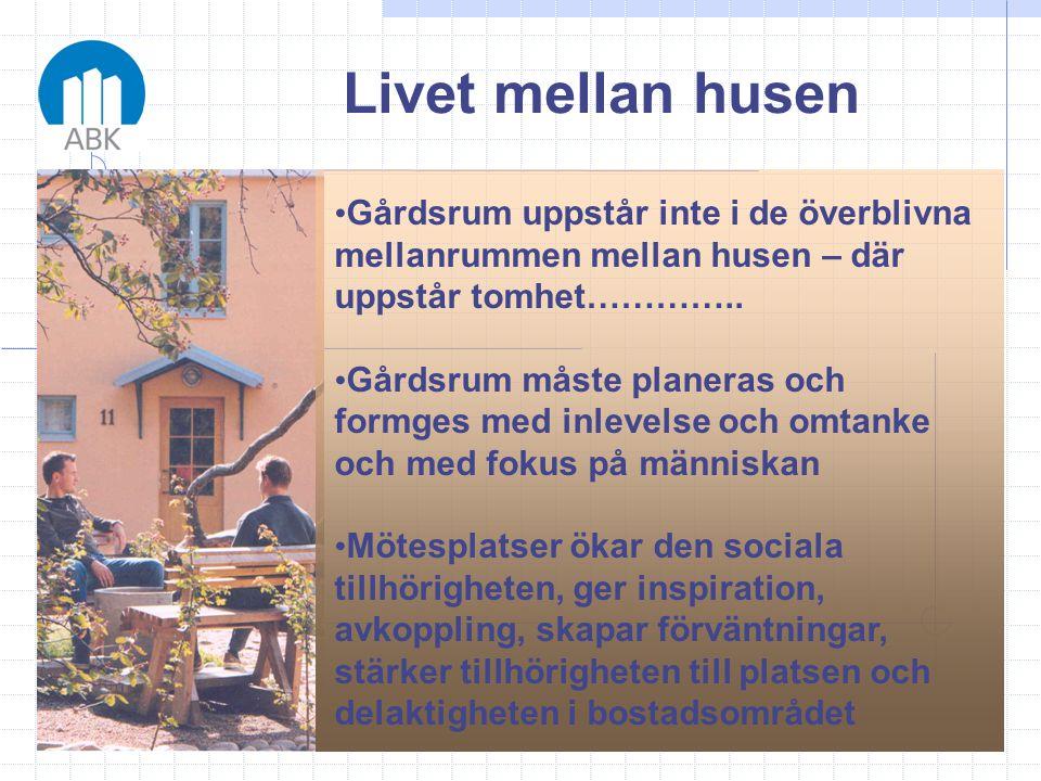 Livet mellan husen • Gårdsrum uppstår inte i de överblivna mellanrummen mellan husen – där uppstår tomhet………….. • Gårdsrum måste planeras och formges
