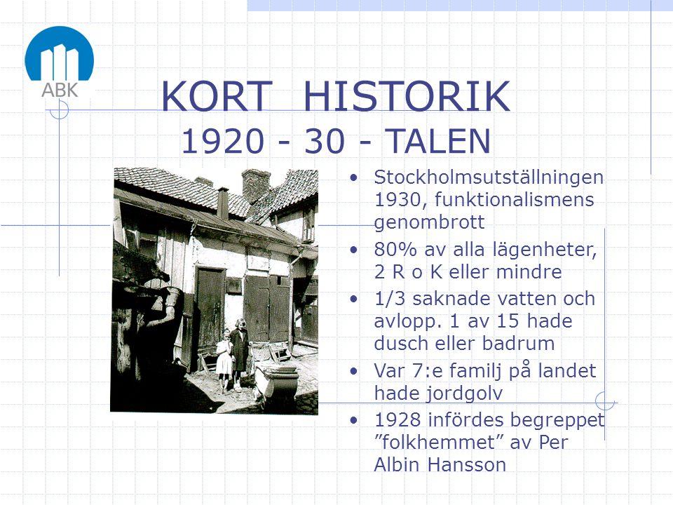 •Stockholmsutställningen 1930, funktionalismens genombrott •80% av alla lägenheter, 2 R o K eller mindre •1/3 saknade vatten och avlopp. 1 av 15 hade