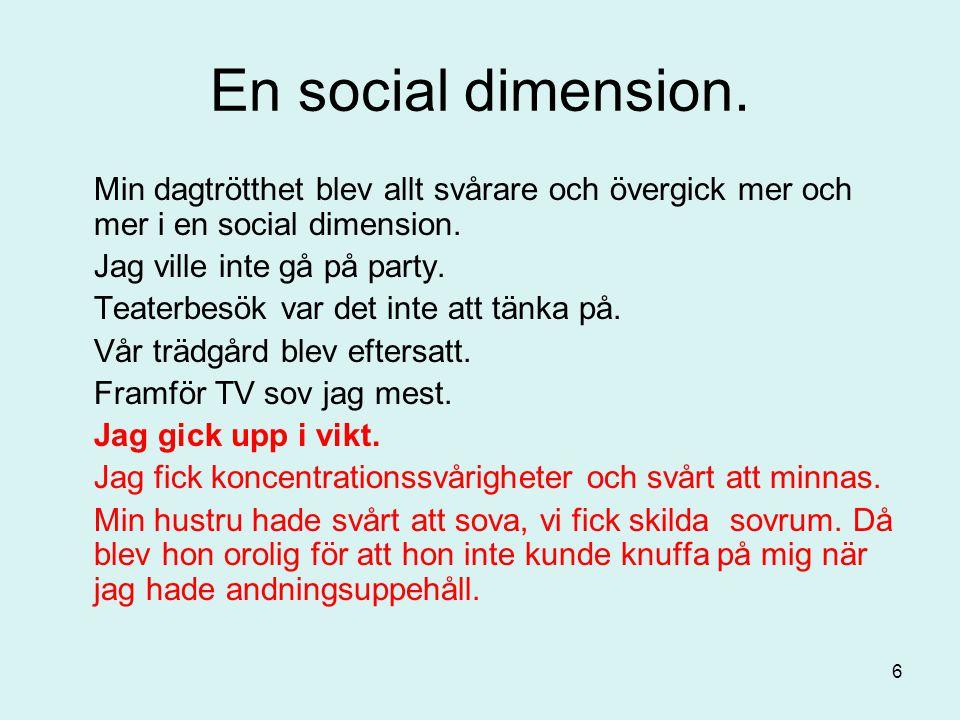 En social dimension. Min dagtrötthet blev allt svårare och övergick mer och mer i en social dimension. Jag ville inte gå på party. Teaterbesök var det