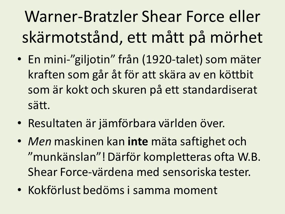 Warner-Bratzler Shear Force eller skärmotstånd, ett mått på mörhet • En mini- giljotin från (1920-talet) som mäter kraften som går åt för att skära av en köttbit som är kokt och skuren på ett standardiserat sätt.